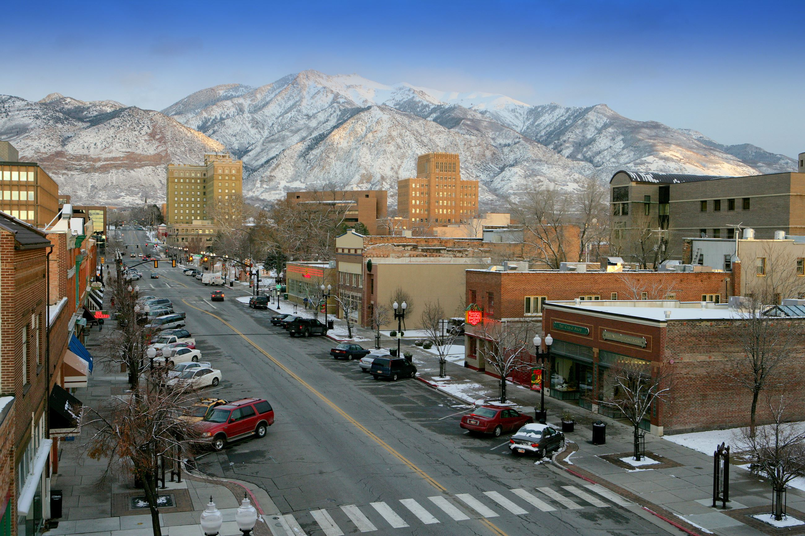 Downtown With Mountains