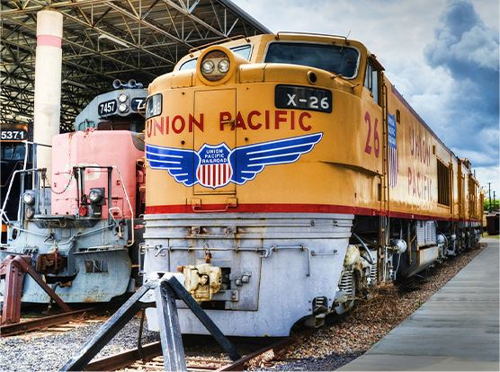 Union Pacific train in the station