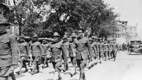 WWI Veterans marching